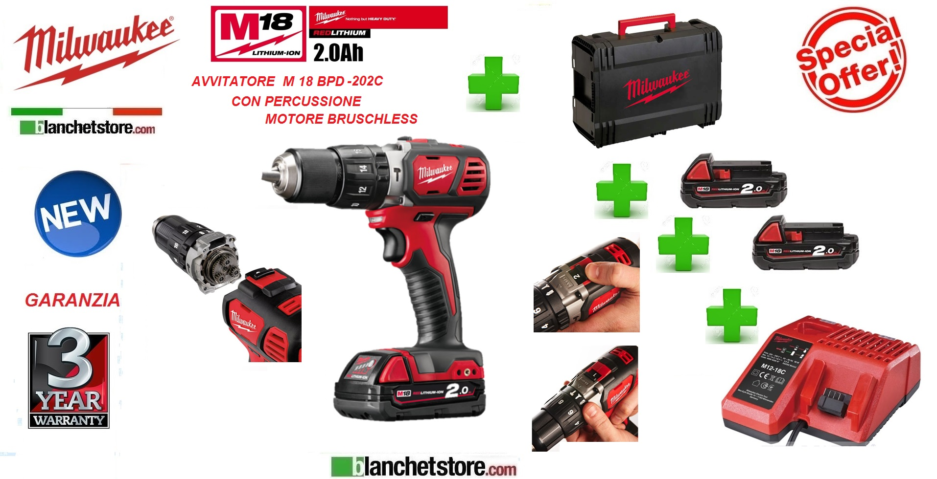 Avvitatore Milwaukee M18 BPD-202C 18V 2A c/percuss.