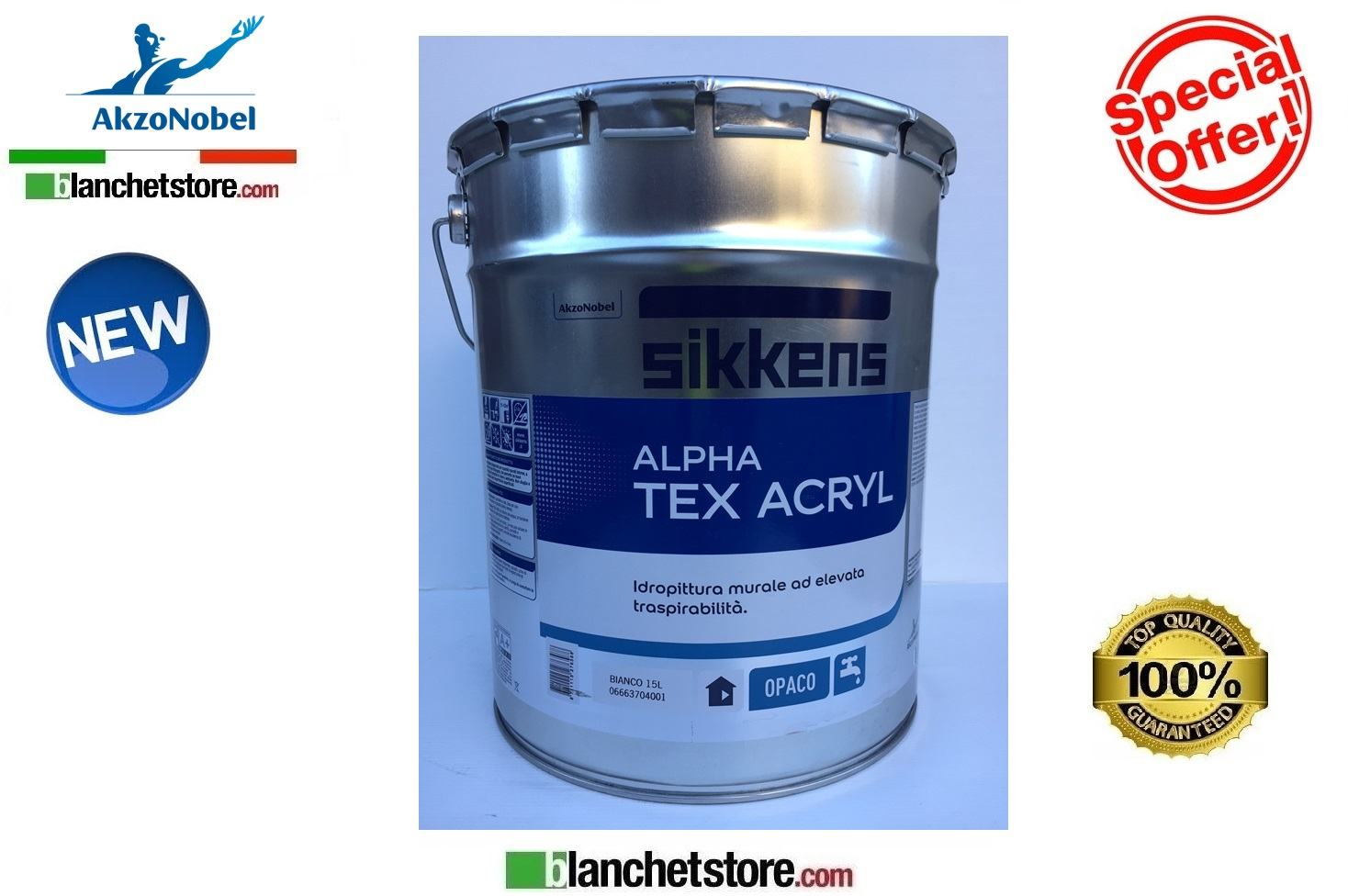 Kit 10 latte Pittura murale Interni Alpha TEX ACRIL Lt 15 Bianco