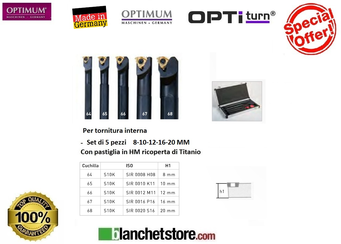 KIT SET 5 UTENSILI INTERNI DA TORNIO OPTIMUM MD 8-10-12-16-20 MM